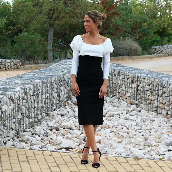 Vestido Blanco Y Negro Manga Abullonada